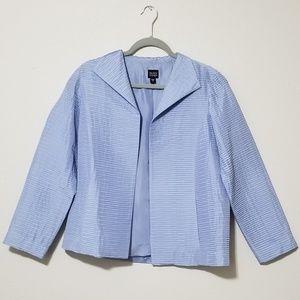 Eileen Fisher Blue 100% Silk Habutai Pleat Blazer